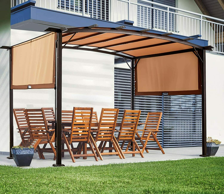 AECOJOY 11.8' X 9.3' Outdoor Pergola Gazebo Retractable Metal Frame Canopy Shade Garden Structures & Shade