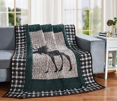 Moose Plaid Quilt Throw Blanket, Lodge Cabin Mountain Style Bedding Quilted Throw Blanket