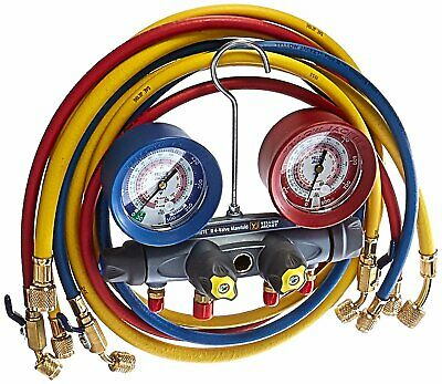 Yellow Jacket 46013 Brute Ii 4 Valve Manifold Gauges 60 Hoses R404a R22 R410a