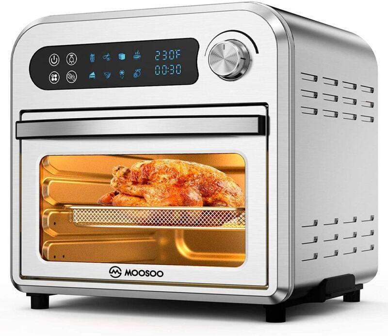 MOOSOO 10.6QT Air Fryer Oven Dehydrator Rotisserie 1500W 100 Recipes 10 in 1 ETL