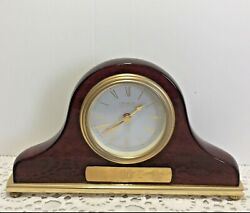 Vtg Estate Danbury Clock Company Cherry Wood Mantle Quartz Clock German Movement