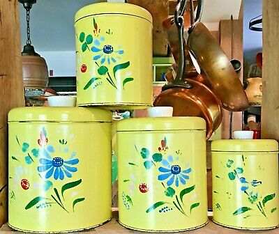 4 Piece 50s RANSBURG Yellow Floral Handpainted Metal Vtg  Canister Set