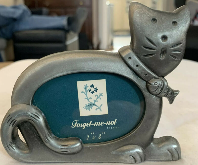 Forget Me Not Pewter Cat Photo Frame Happy Kitty