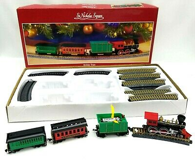 St Nicholas Square Christmas Village Lighted Accessories Holiday Train Set Of 4