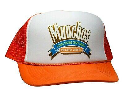 Vintage Munchos Potato Crisp Hat Trucker Snapback 80s Orange Party Snacking Cap