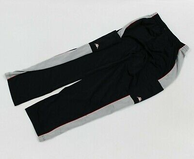 VTG 90s Kappa Soccer Black Athletic Polyester Track Sweat Pants Men's Large