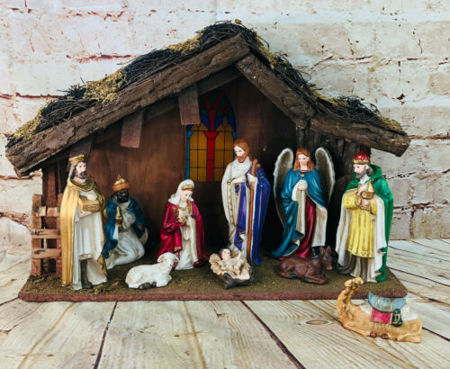 "Vtg Nativity Scene Manger Christmas Holiday Decoration 19"" x 12 ceramic figures"
