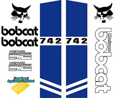 Bobcat Melroe 742 Skid Steer Set Vinyl Decal Sticker Sign 9 Pc Set Applicator