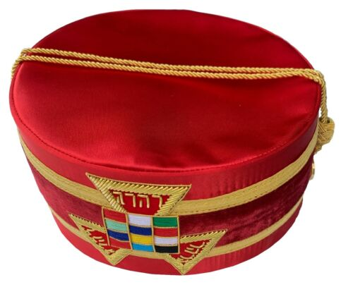 MASONIC Royal Arch RAM PHP Crown Crowns CAP RED HAT Size 59