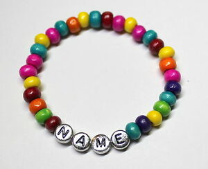 Girl or Boy Personalised Wooden Surfer Bracelet. Any Name And Choice Of Colours