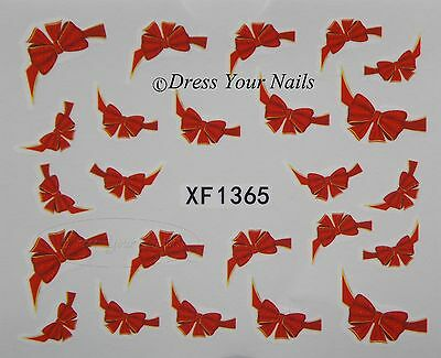Christmas Bow Nail Stickers - Red Bowtie - Nail Art  Gift wrap Xmas - UK