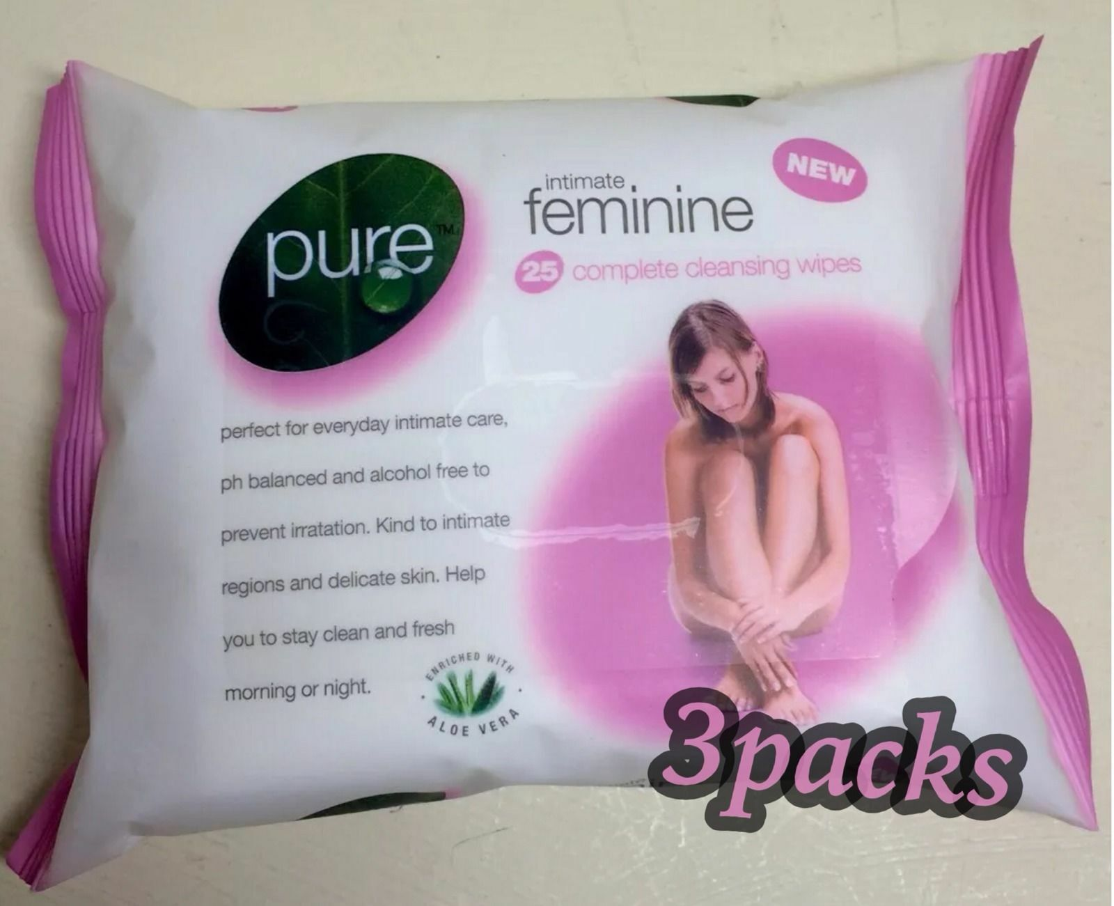 3 Pack Pure Intimate Feminine Women Wipes Pack Of 25 Complete Cleansing Hygiene