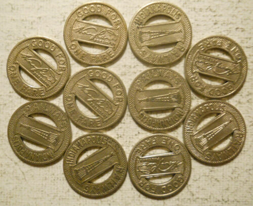 Lot of 10 Indianapolis Railways (Indiana) transit tokens - IN460T
