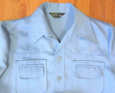 1970s Mens Shirt Styles – Vintage 70s Shirts for Guys VTG 1970's DISCO ERA Mens SHIRT POLYESTER CORNFLOWER BLUE Sz 40 R $34.78 AT vintagedancer.com