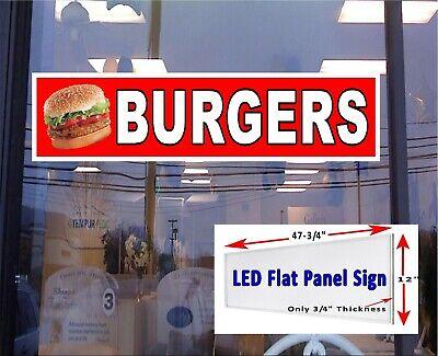 Burgers Led Illuminated Window Sign 48x12 Led Flat Panel Sign