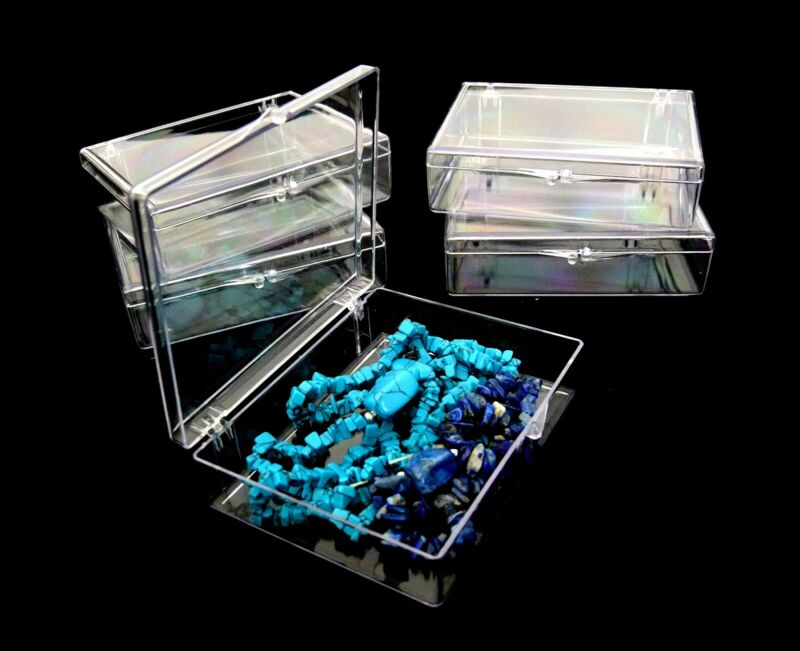 Large Clear Acrylic Bead Storage Etc. Boxes With Snap Closure 5 Qty