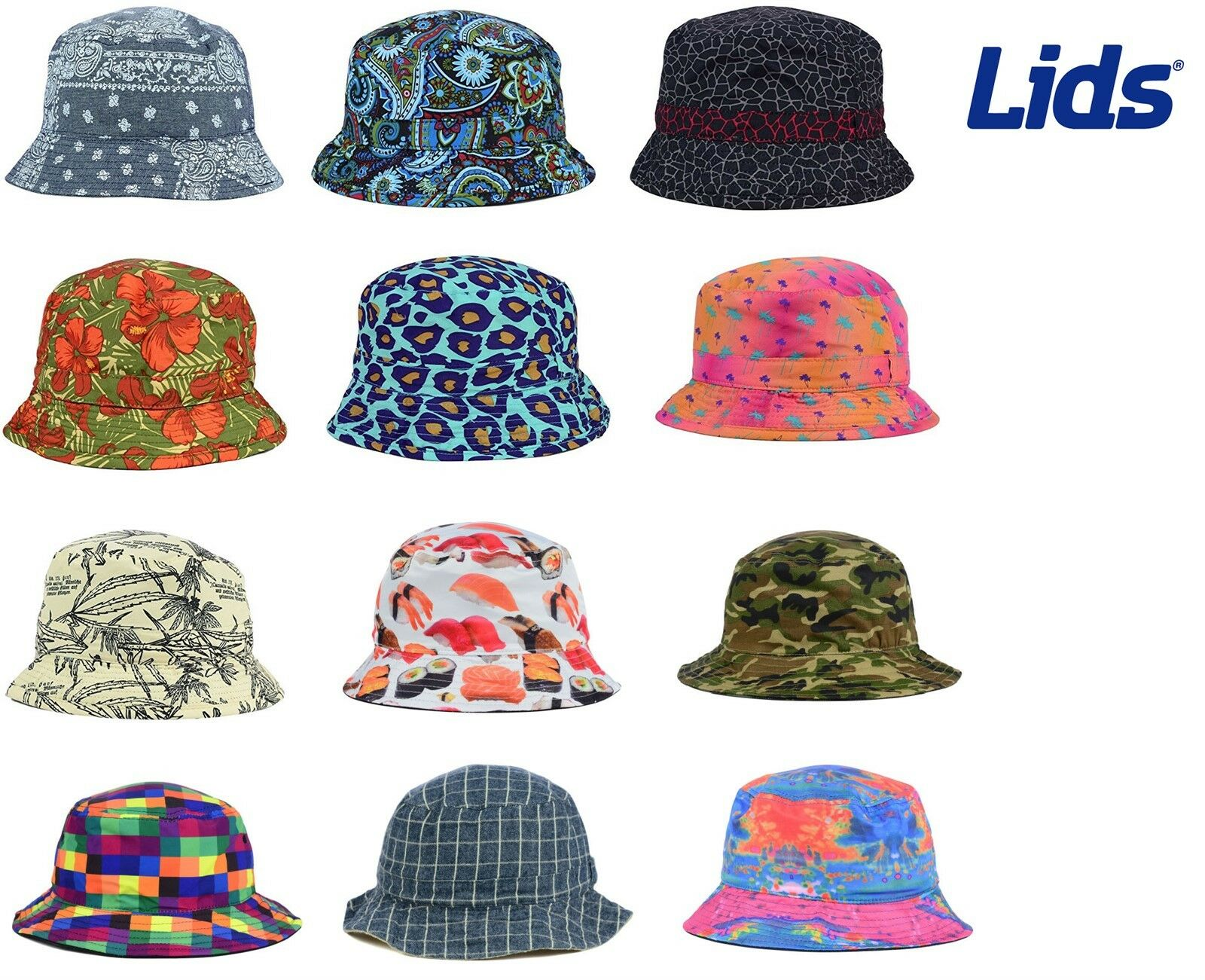 df9fe8b9ae1e4 LIDS Reversible Printed Bucket Hat - MANY STYLES - ALL SIZES