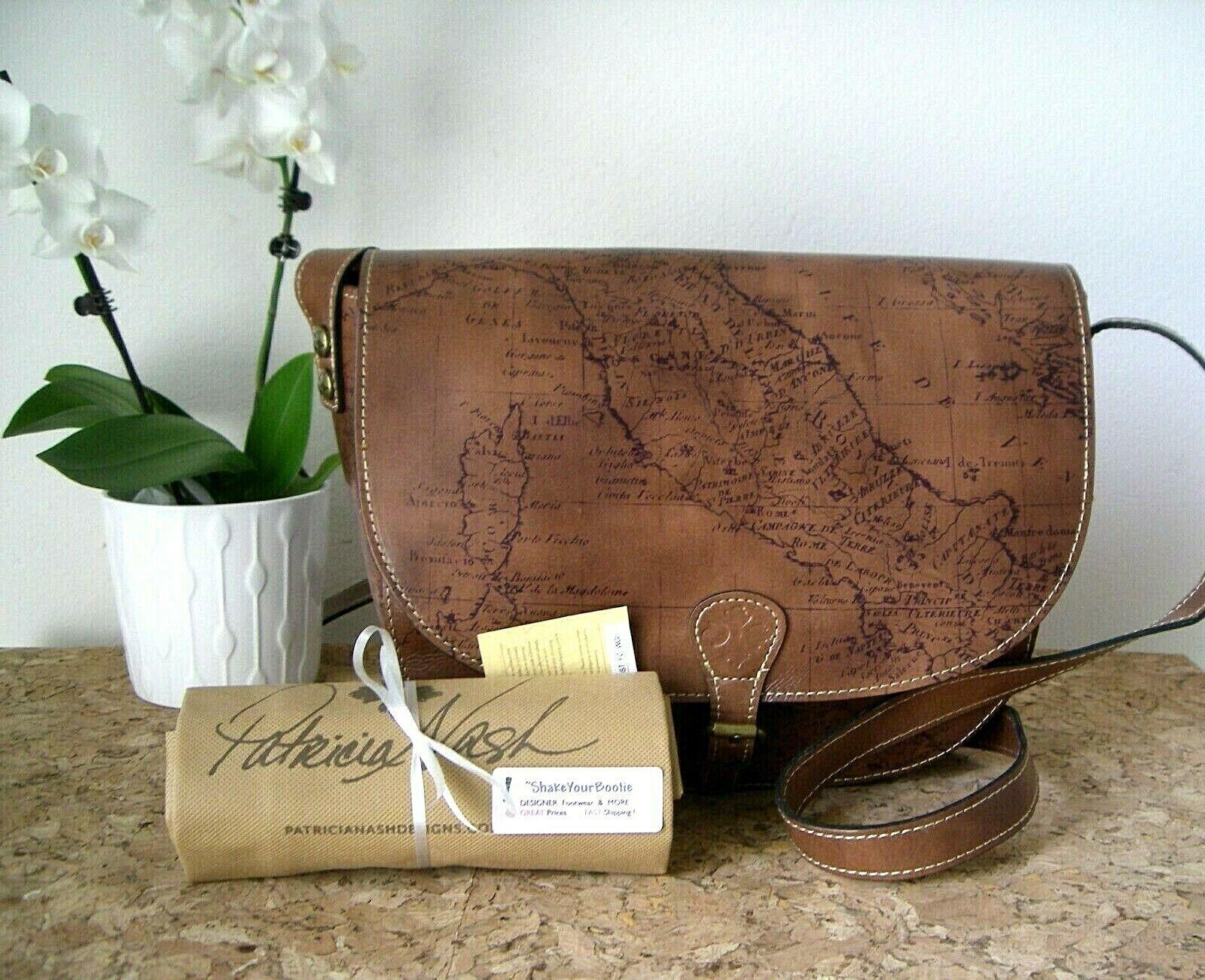 NWD   Patricia Nash  Rosolini  Map Pattern  Leather Saddle B