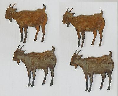 Lot Of 4 Goat Farm Animal Shape 4 Rusty Metal Vintage Ornament Craft Diy Sign
