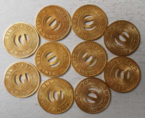 Lot of 10 Druid City Lines (Tuscaloosa, Alabama) transit tokens - AL800F