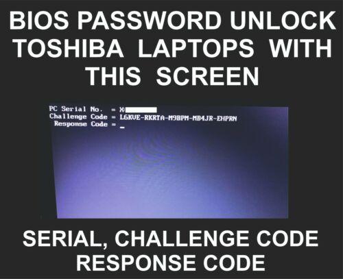 Toshiba Bios Password Unlock, Libretto, Portege, Tecra, Satellite, Qosmio, Radiu