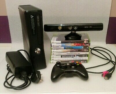 Xbox 360 250gb Slim Console Kinect Bundle , 8 Games , 1 Controllers