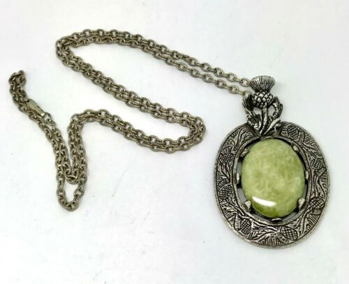 """Vintage Large Signed Miracle THISTLE CONNEMARA Marble Pendant Necklace 25"""""""
