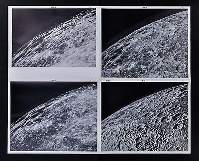 1960 Photographic Lunar Moon Map - 4 Photo Set - Field Biela B8 Surface Craters