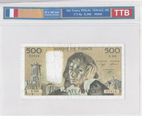 Ticket From 500 Francs Pascal 1991 Ttb