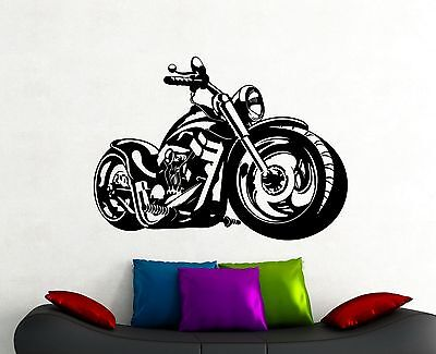 Harley Davidson Room Decor (Motorbike Wall Decal Harley Davidson Chopper Vinyl Sticker Boys Room Decor)