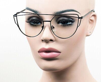 Übergröße Metall Cat Eye Aviator Vintage Style Brille Klar Gläser Schwarz 216