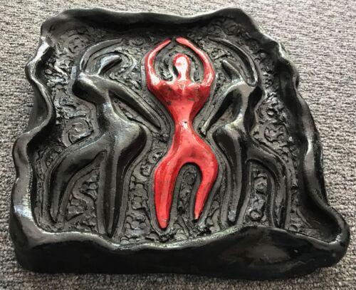 Vtg 50s 60s Abstract Dancer Ceramic Plaque Retro Art Mid Century Modern Pottery