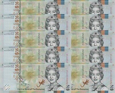 Bahamas 1//2 0.5 Dollar 50 Cents P-NEW 2019 Lot 10 PCS UNC