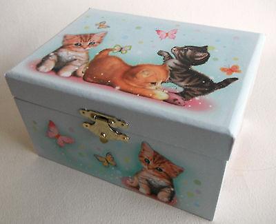 """süßes Schmuckkästchen Schatulle  mit Ballerina- Spieluhr  """" Katzen - Kinder """""""