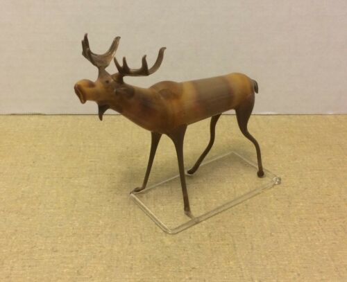Antique Vintage Brown Slag Blown Art Glass Moose Made in  Germany Original Label