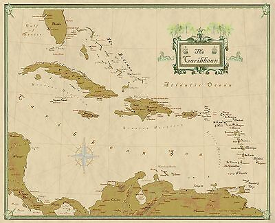 Caribbean and West Indies Wall Map Mural and Poster Modern Day Antique (Caribbean Wall Mural)