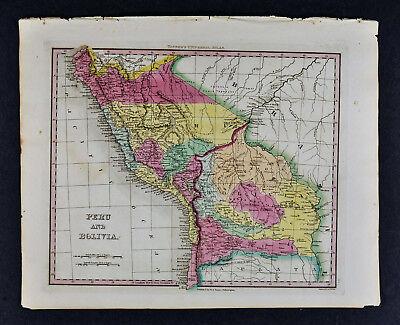 1840 Henry Tanner Map - Peru & Bolivia  Brazil Cuzco Lima Potosi - South America