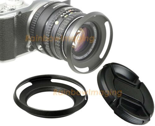 49mm Metal Slim Low Profile Curved Tilted Vented Wide Angle Lens Hood +Lense Cap