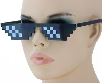 Thug Life Attitude Sunglasses 8 Bit Pixel Deal With IT Unisex Glass Eyewear NEW - 8 Bit Sunglasses