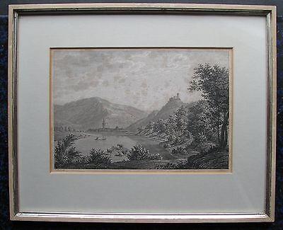 BERNKASTEL-KUES. Orig. Kupferstich von ROTTMANN / SCHNELL, ca. 1820. Gerahmt