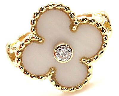 Van Cleef & Arpels Vintage Alhambra 18k Yellow Gold Diamond White Coral Ring