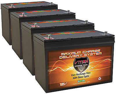 Qty4 Vmax Slr100 12V 100Ah Solar Battery 400Ah Total For Yingli Energy Panels