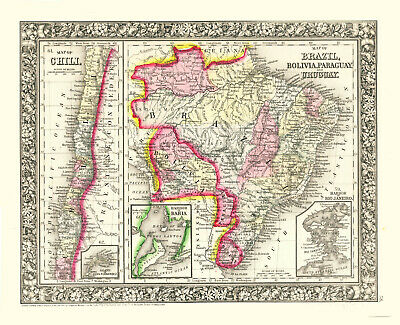 1860 MITCHELL Hand Colored Map BRAZIL, CHILE, BOLIVIA, PARAGUAY, URUGUAY-3 Inset