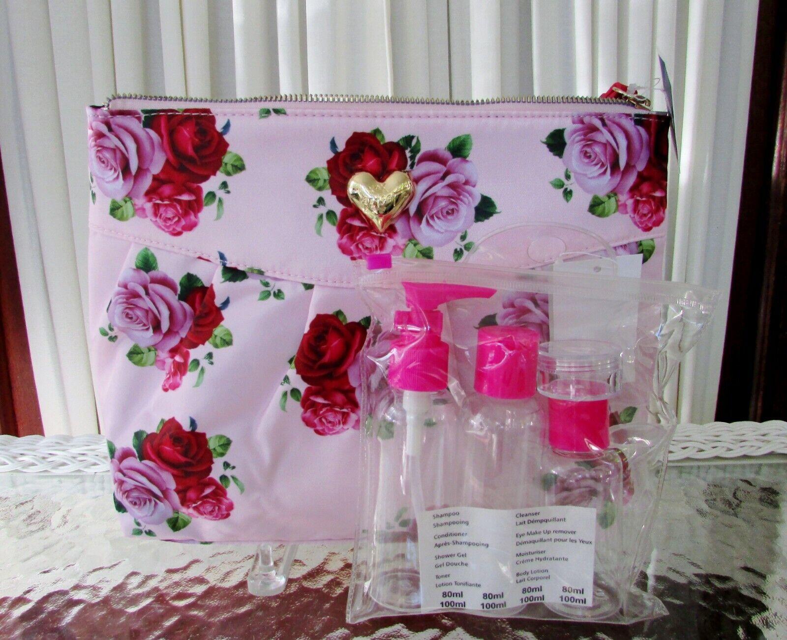 Betsey Johnson Large Cosmetic Bag Wristlet Floral Travel Bot