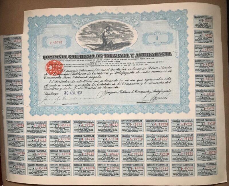 Chile Stock Certificate Compañia de Tarapaca y Antofagasta 1937