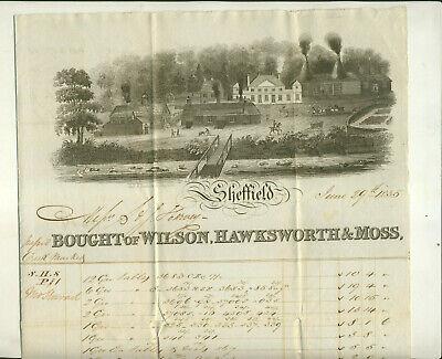 1835 WILSON HAWKSWORTH & MOSS SHEFFIELD ENGLAND INVOICE/BILL OF LADING & LETTER