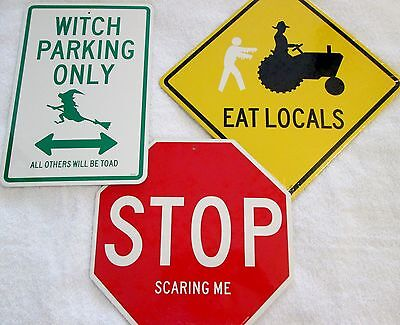 New Halloween decor street signs witch broom, stop if you dare & zoombie - Halloween Decorations Signs