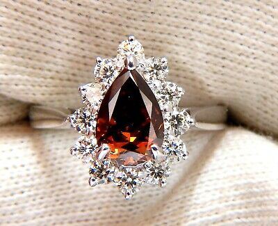 GIA Certified 1.47ct Natural Fancy Orange Brown Diamond Halo Ring  14 Karat 7