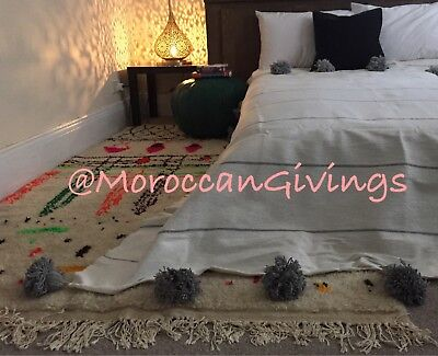Moroccan Handwoven Pom Pom Blanket/100% Natural Cotton,79
