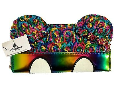 Disney Park Mickey Mouse Rainbow Sequin Loungefly Wallet Ear Body Parts NEW/TAGS
